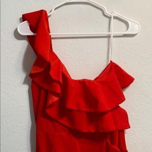 On shoulder red jumpsuit